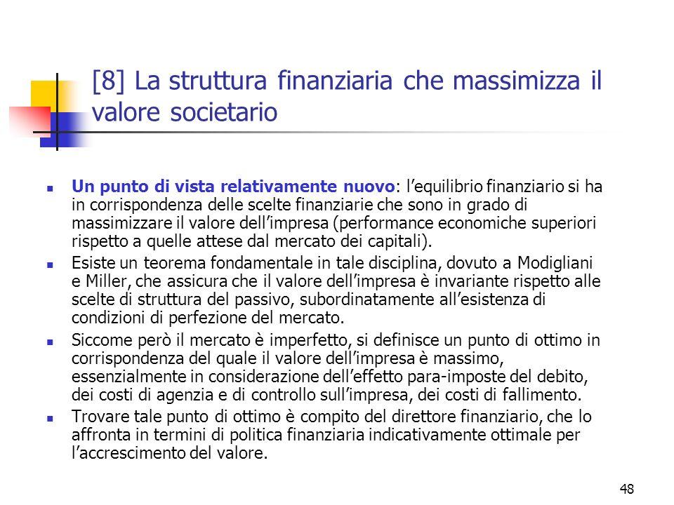 [8] La struttura finanziaria che massimizza il valore societario